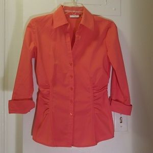 NWOT New York & Company Stretch shirt coral XS